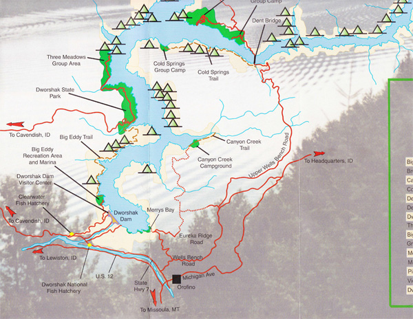 Dworshak Trail Information And Maps For Clearwater Cabin